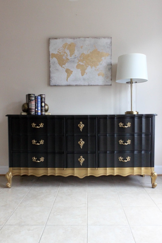 black Gold Dip French Provincial Dresser The Sociable Home